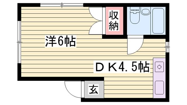 物件番号: 1115169199  姫路市伊伝居 1DK マンション 間取り図