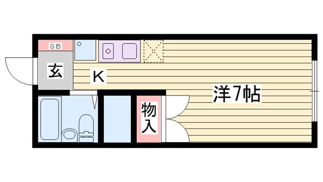物件番号: 1115169243  姫路市網干区田井 1K ハイツ 間取り図