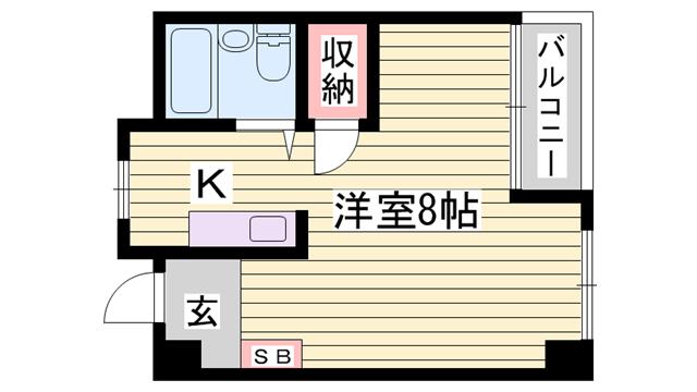 物件番号: 1115169259  姫路市西中島 1K マンション 間取り図