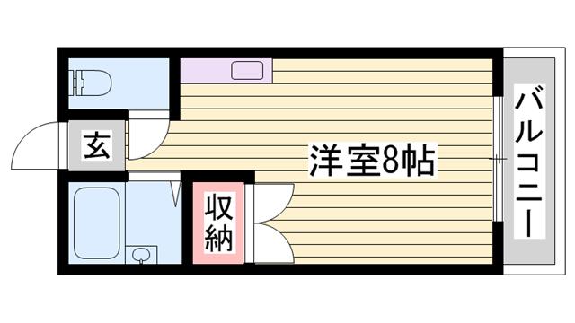 物件番号: 1115169511  姫路市白国4丁目 1R ハイツ 間取り図