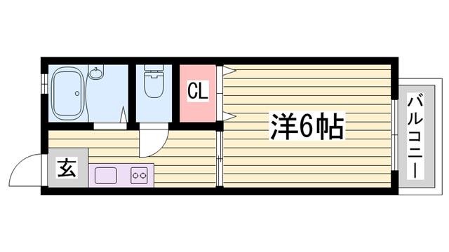物件番号: 1115169730  姫路市土山2丁目 1K ハイツ 間取り図