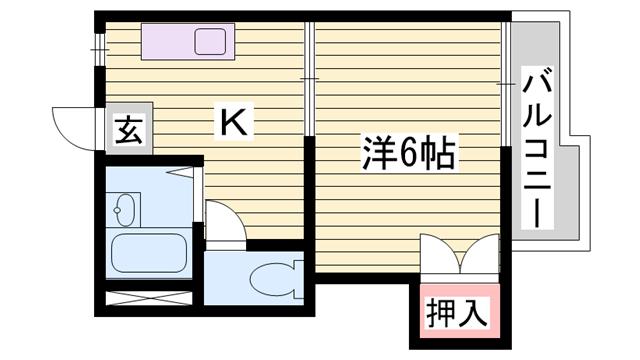 物件番号: 1115169863  姫路市北平野4丁目 1DK ハイツ 間取り図
