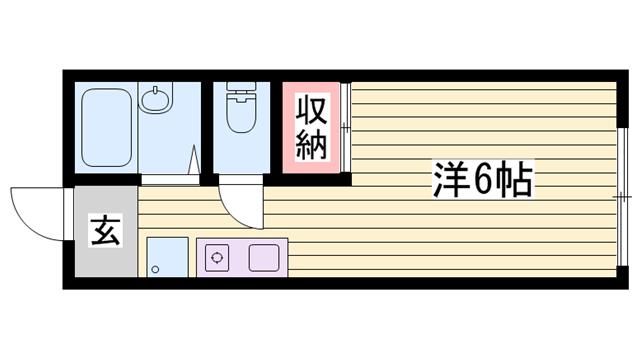 物件番号: 1115170063  姫路市飾磨区上野田6丁目 1K ハイツ 間取り図