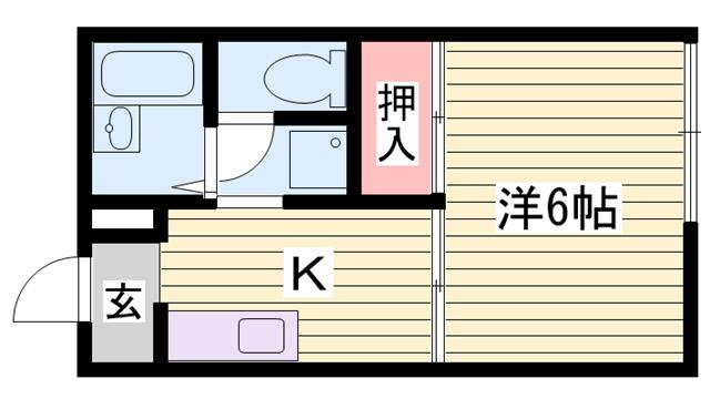 物件番号: 1115170112  姫路市書写 1K ハイツ 間取り図