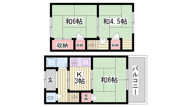 物件番号: 1115170187  姫路市飾磨区都倉1丁目 3K アパート 間取り図