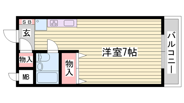 物件番号: 1115170608  姫路市広畑区清水町1丁目 1R ハイツ 間取り図