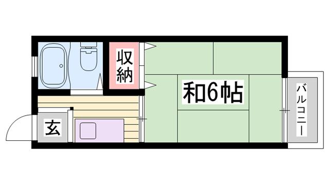 物件番号: 1115170653  姫路市東辻井1丁目 1K ハイツ 間取り図