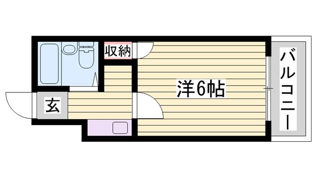 物件番号: 1115171617  姫路市西中島 1K ハイツ 間取り図