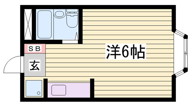 物件番号: 1115171623  加古川市尾上町養田 1R ハイツ 間取り図