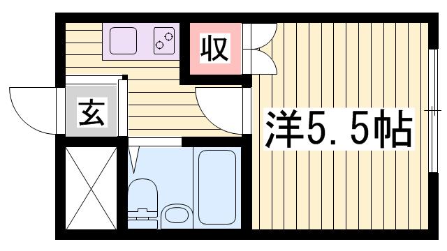 物件番号: 1115171667  姫路市御立東6丁目 1K ハイツ 間取り図