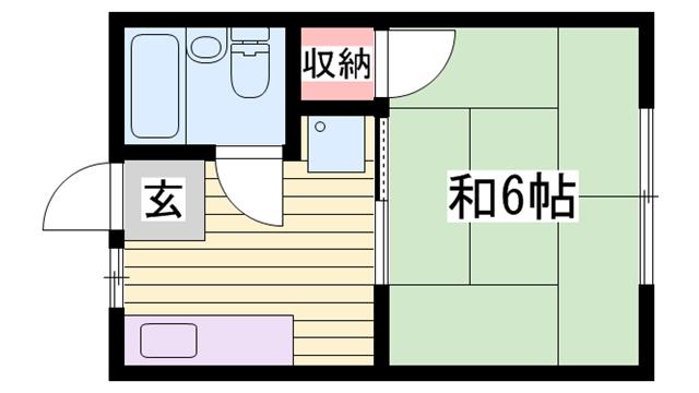 物件番号: 1115171669  姫路市坊主町 1K ハイツ 間取り図