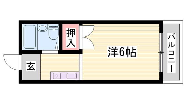 物件番号: 1115171687  姫路市伊伝居 1R ハイツ 間取り図