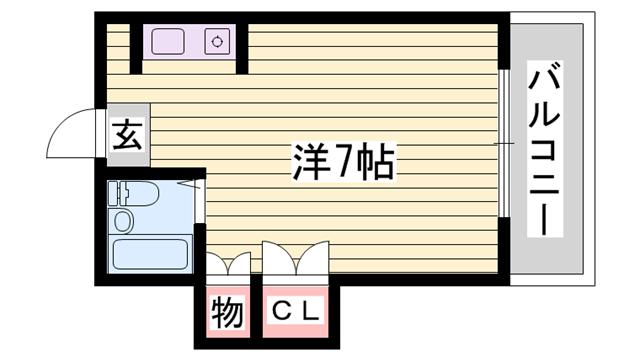 物件番号: 1115172014  姫路市上手野 1R マンション 間取り図
