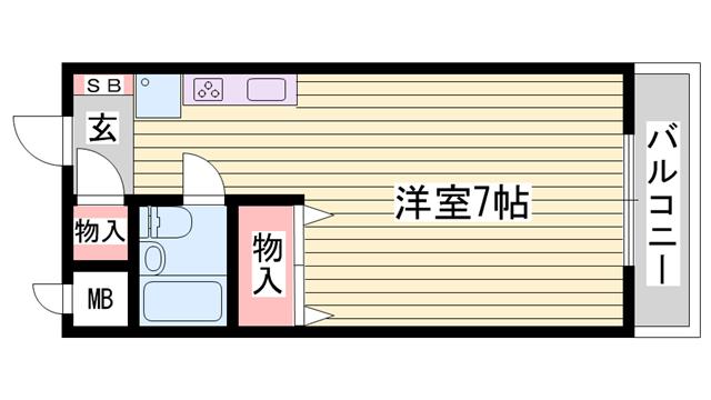 物件番号: 1115172051  姫路市広畑区清水町1丁目 1R ハイツ 間取り図