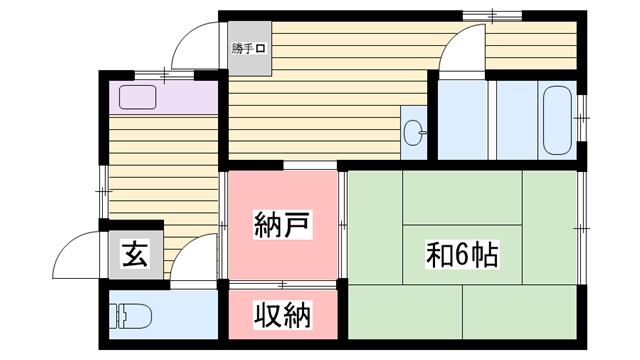 物件番号: 1115172365  姫路市辻井5丁目 2SK 貸家 間取り図