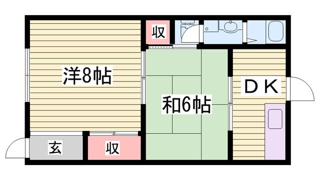 物件番号: 1115172618  加古川市平岡町新在家 2DK ハイツ 間取り図