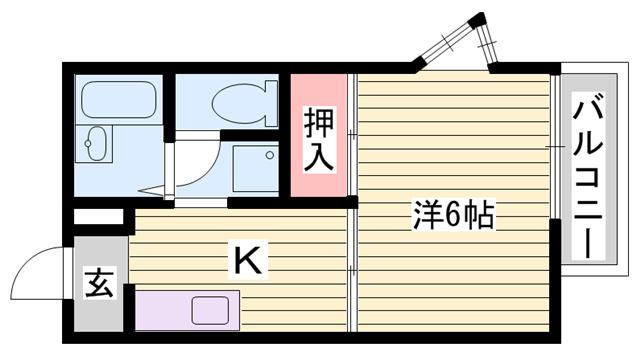 物件番号: 1115172717  姫路市書写 1K ハイツ 間取り図