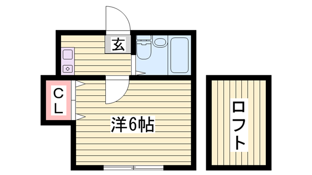 物件番号: 1115172747  姫路市野里新町 1K ハイツ 間取り図