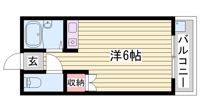 物件番号: 1115173072  姫路市増位本町2丁目 1R マンション 間取り図