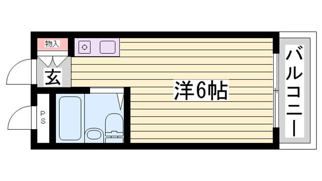 物件番号: 1115173302  姫路市飾磨区都倉1丁目 1R ハイツ 間取り図