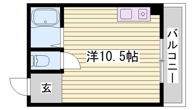 物件番号: 1115173656  姫路市西八代町 1R マンション 間取り図
