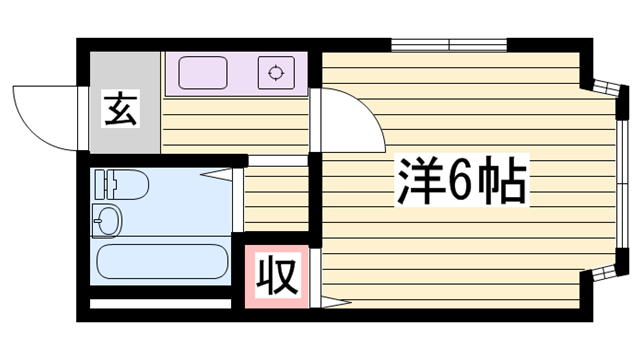 物件番号: 1115173714  姫路市飾磨区今在家 1K ハイツ 間取り図