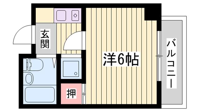 物件番号: 1115174260  姫路市手柄1丁目 1K マンション 間取り図