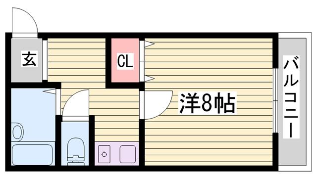 物件番号: 1115177336  加東市松沢 1K マンション 間取り図