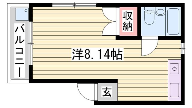 物件番号: 1115177771  姫路市伊伝居 1R マンション 間取り図