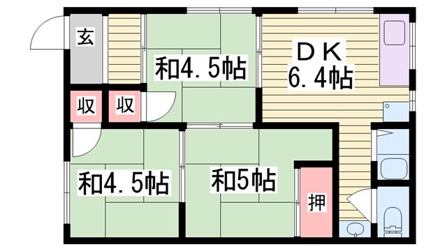 物件番号: 1115178702  姫路市余部区上余部 3DK ハイツ 間取り図