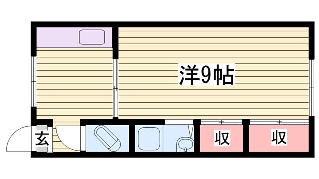 物件番号: 1115178737  姫路市香寺町溝口 1K マンション 間取り図