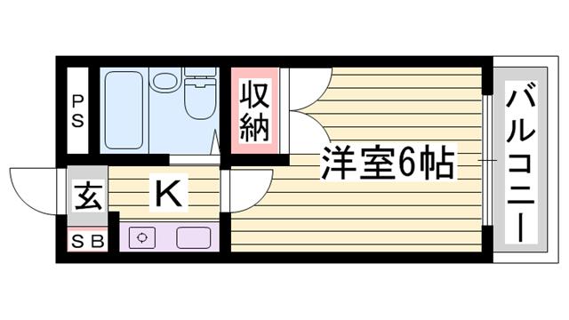 物件番号: 1115178928  姫路市北八代2丁目 1K マンション 間取り図