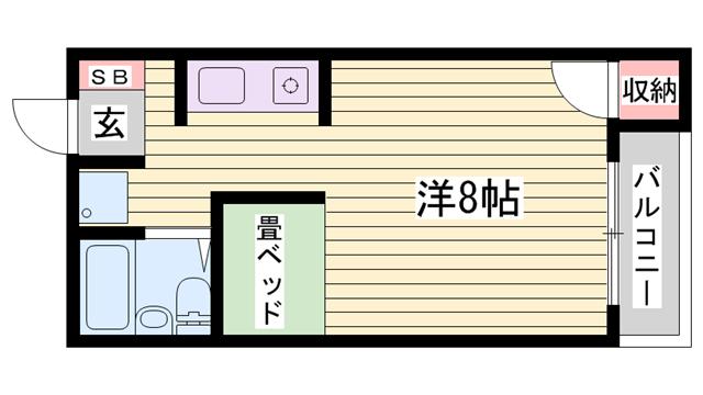 物件番号: 1115179554  姫路市新在家本町4丁目 1R ハイツ 間取り図