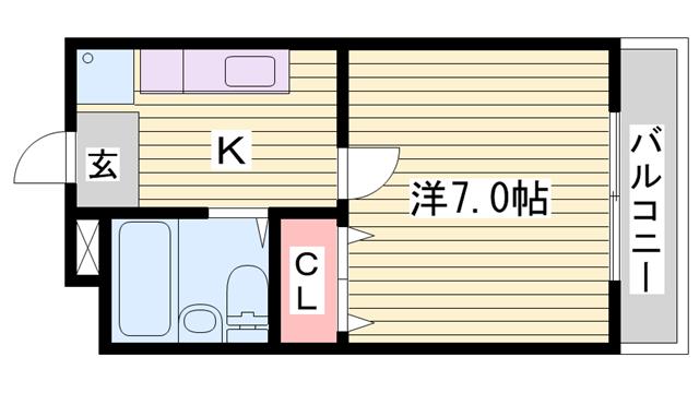 物件番号: 1115179620  姫路市白国5丁目 1K ハイツ 間取り図