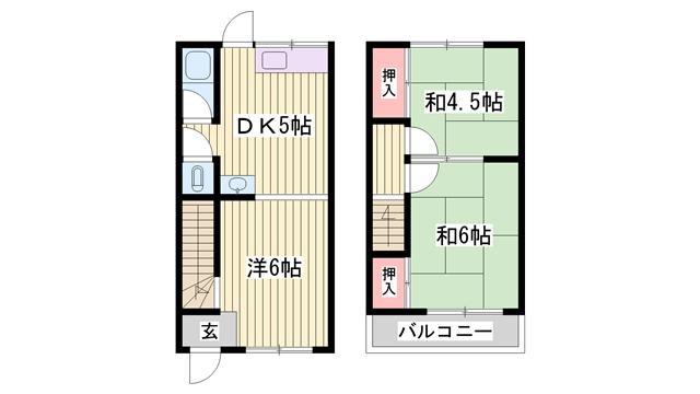 物件番号: 1115180825  加古郡播磨町本荘2丁目 3DK アパート 間取り図