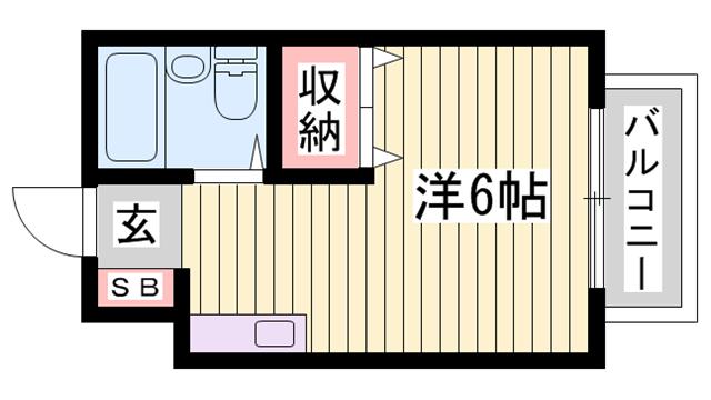 物件番号: 1115180834  姫路市嵐山町 1R マンション 間取り図