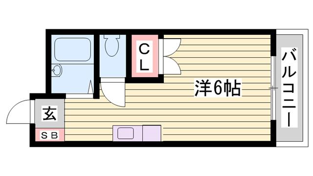 物件番号: 1115180882  姫路市御立北1丁目 1R マンション 間取り図