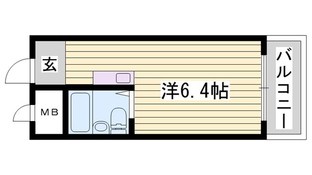 物件番号: 1115181172  姫路市北平野2丁目 1K マンション 間取り図