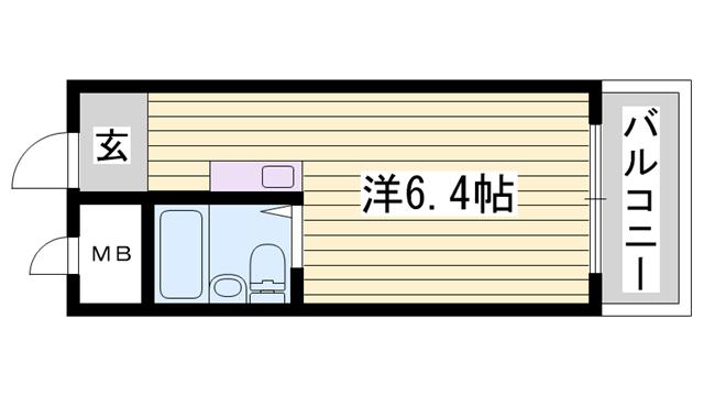 物件番号: 1115181174  姫路市北平野2丁目 1K マンション 間取り図