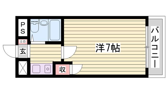 物件番号: 1115181289  加古川市平岡町新在家 1R マンション 間取り図
