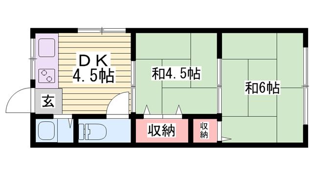 物件番号: 1115181307  姫路市北条 2DK ハイツ 間取り図