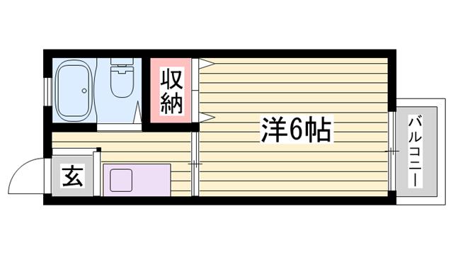 物件番号: 1115181418  姫路市東辻井1丁目 1K ハイツ 間取り図
