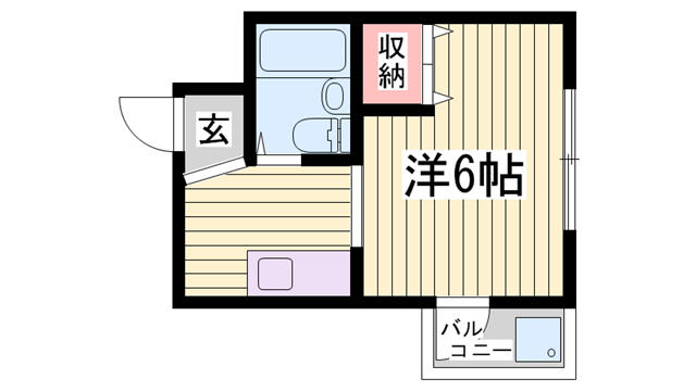 物件番号: 1115181463  姫路市野里寺町 1R マンション 間取り図