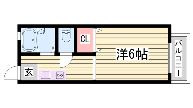 物件番号: 1115181506  姫路市土山2丁目 1K ハイツ 間取り図