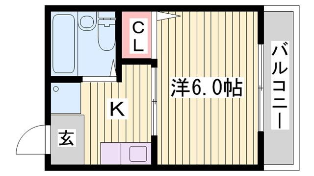 物件番号: 1115181750  姫路市白国4丁目 1K ハイツ 間取り図