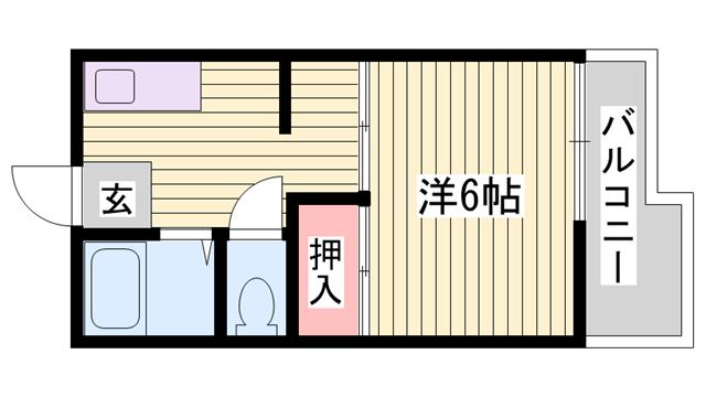 物件番号: 1115181795  姫路市新在家本町3丁目 1K ハイツ 間取り図