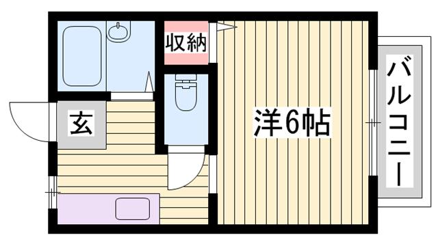 物件番号: 1115181874  姫路市上手野 1K ハイツ 間取り図