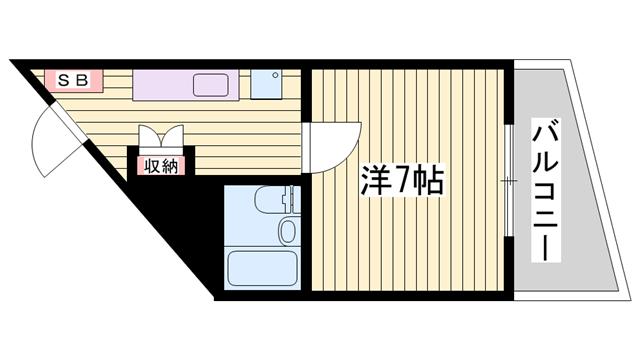 物件番号: 1115182014  姫路市山吹2丁目 1K マンション 間取り図
