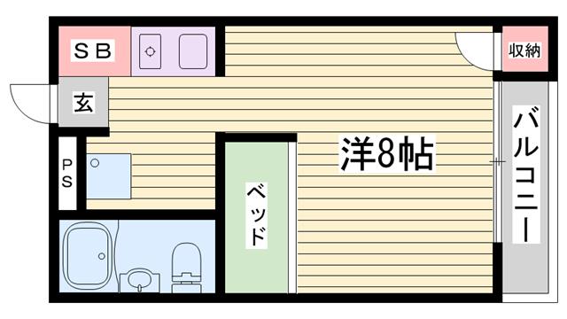 物件番号: 1115182391  姫路市新在家本町4丁目 1R ハイツ 間取り図