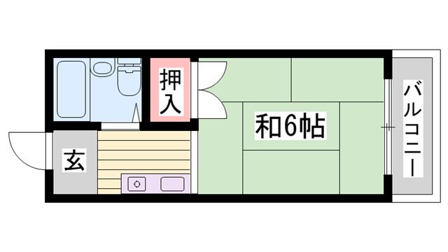 物件番号: 1115182649  姫路市伊伝居 1R ハイツ 間取り図